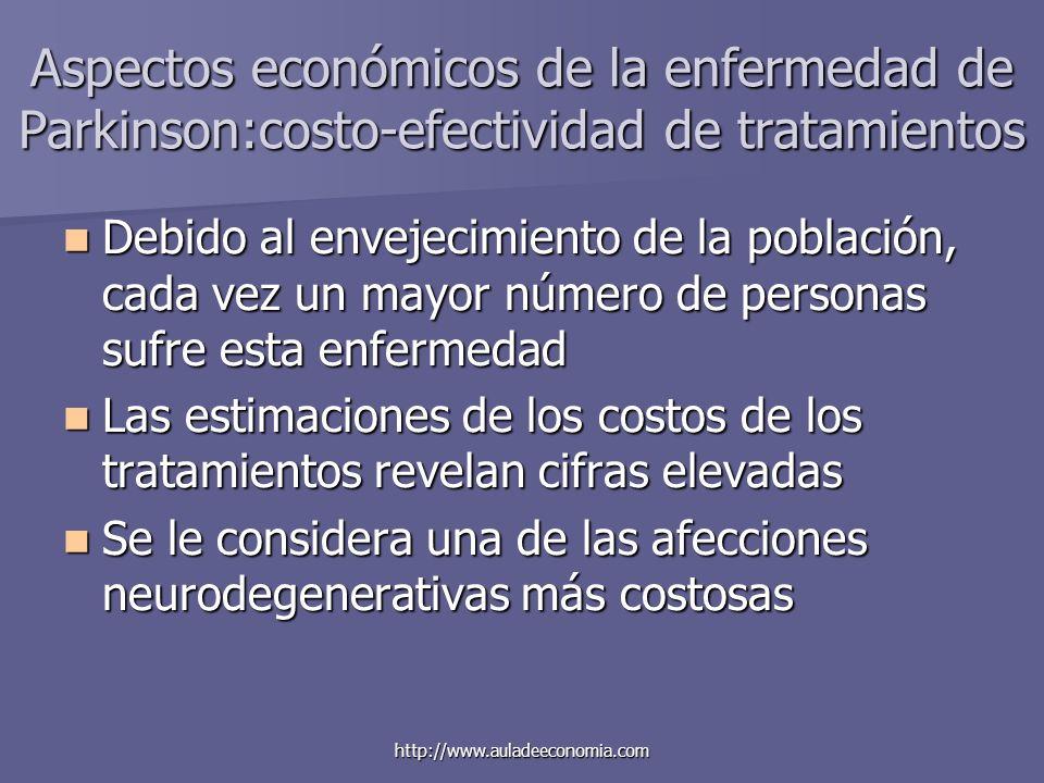 http://www.auladeeconomia.com Aspectos económicos de la enfermedad de Parkinson:costo-efectividad de tratamientos Debido al envejecimiento de la pobla