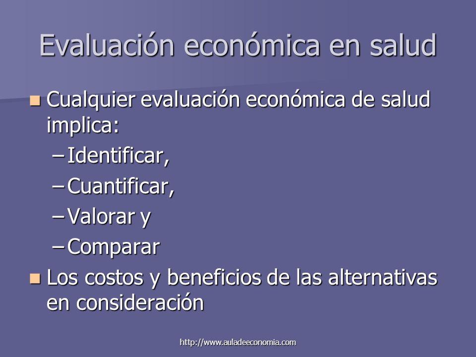 http://www.auladeeconomia.com Evaluación económica en salud Cualquier evaluación económica de salud implica: Cualquier evaluación económica de salud i