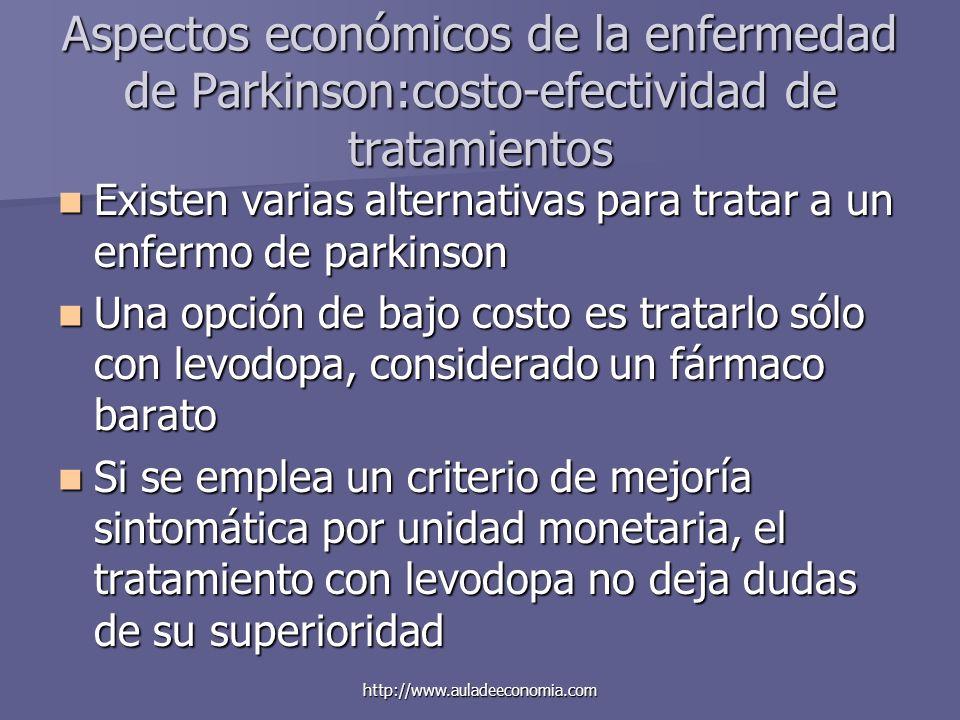 http://www.auladeeconomia.com Aspectos económicos de la enfermedad de Parkinson:costo-efectividad de tratamientos Existen varias alternativas para tra