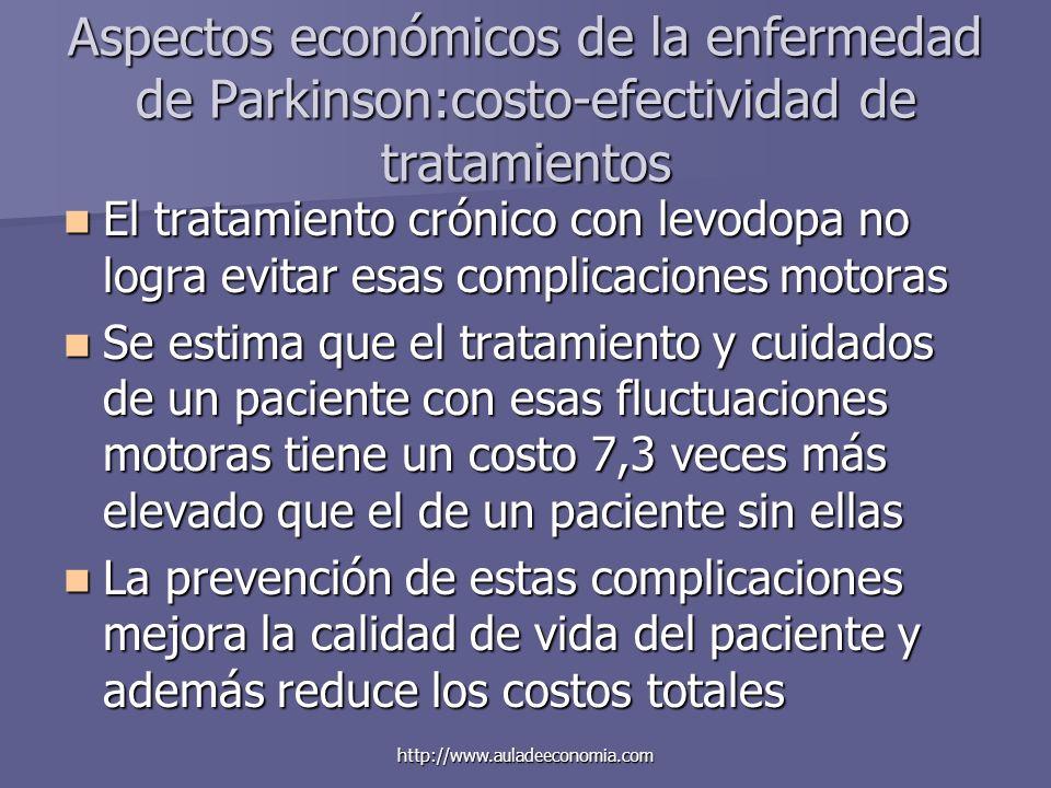 http://www.auladeeconomia.com Aspectos económicos de la enfermedad de Parkinson:costo-efectividad de tratamientos El tratamiento crónico con levodopa