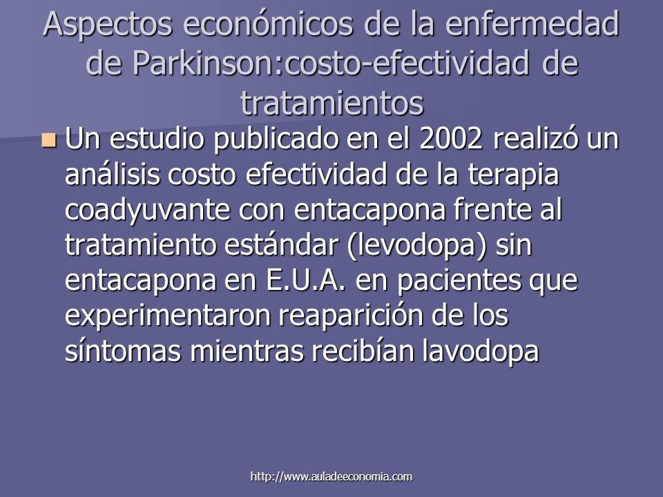http://www.auladeeconomia.com Aspectos económicos de la enfermedad de Parkinson:costo-efectividad de tratamientos Un estudio publicado en el 2002 real