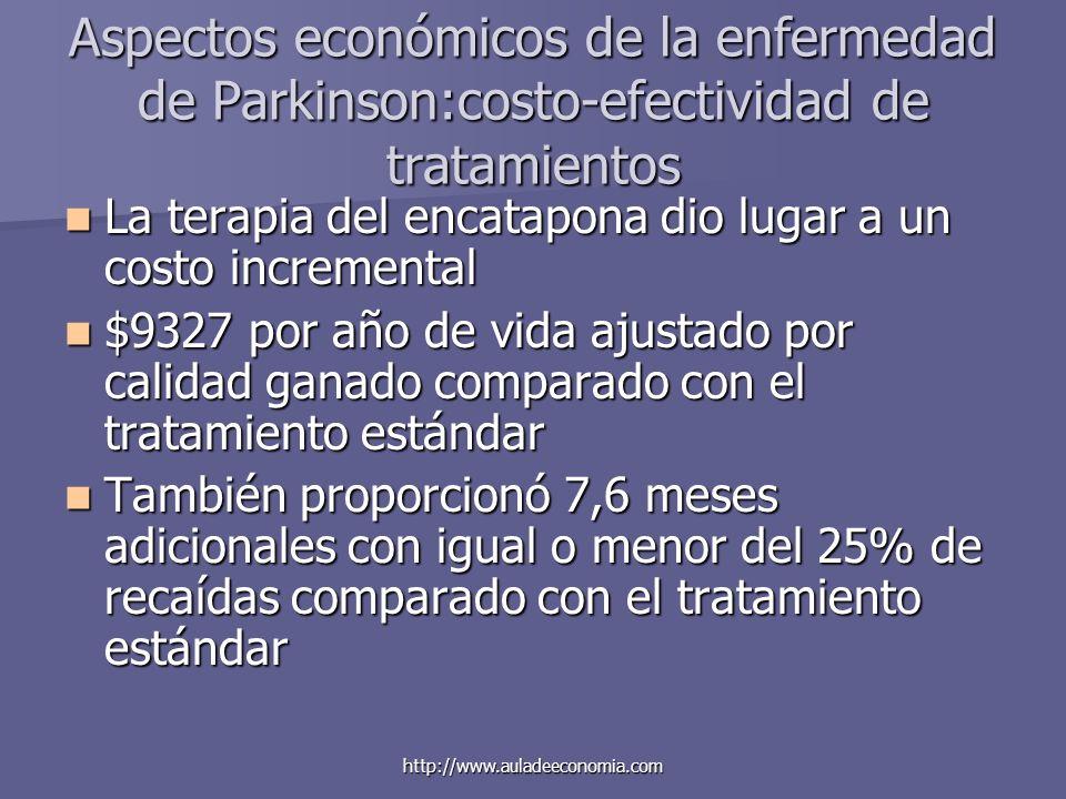 http://www.auladeeconomia.com Aspectos económicos de la enfermedad de Parkinson:costo-efectividad de tratamientos La terapia del encatapona dio lugar