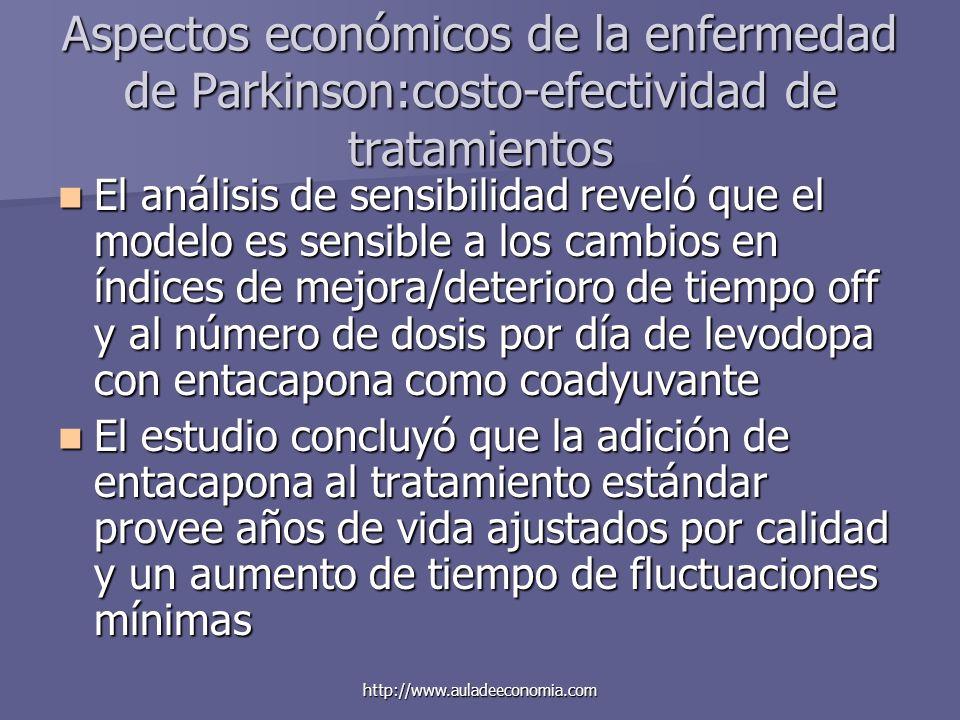 http://www.auladeeconomia.com Aspectos económicos de la enfermedad de Parkinson:costo-efectividad de tratamientos El análisis de sensibilidad reveló q