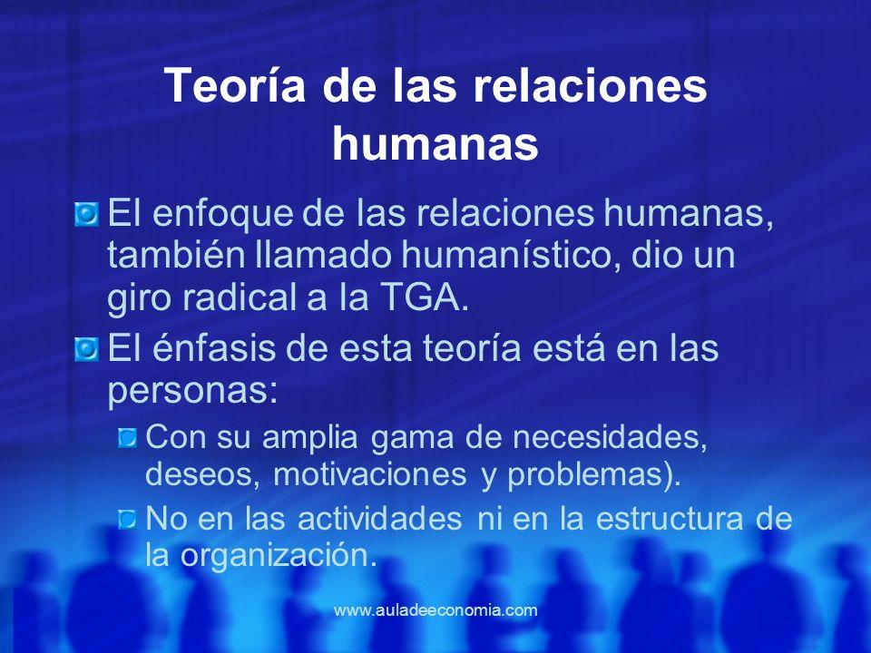 www.auladeeconomia.com Teoría de las relaciones humanas El enfoque de las relaciones humanas, también llamado humanístico, dio un giro radical a la TG