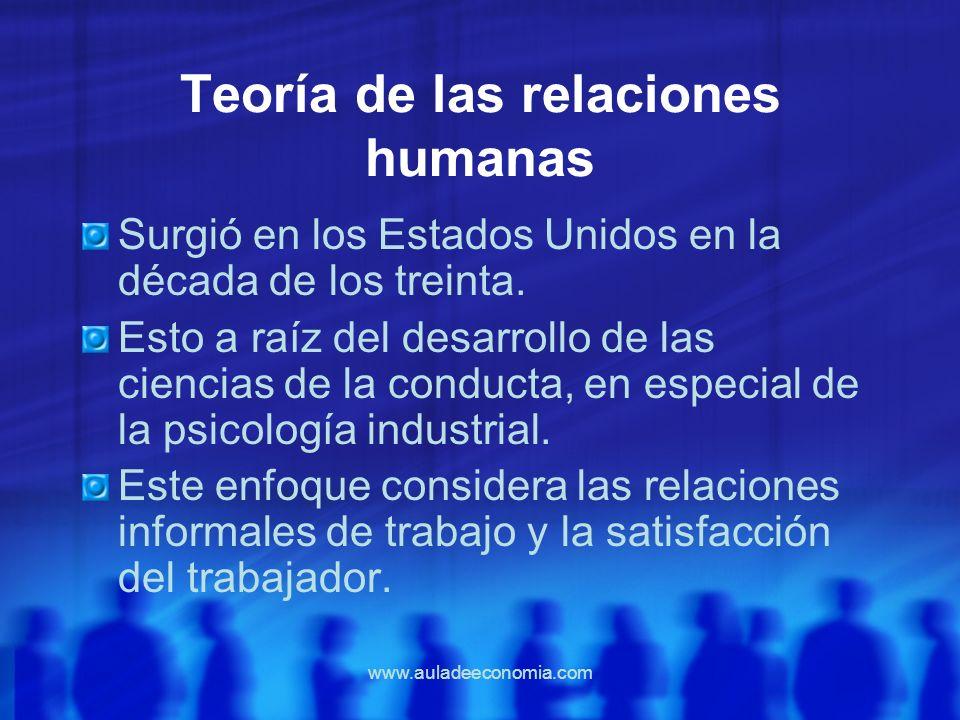 www.auladeeconomia.com Teoría de las relaciones humanas Surgió en los Estados Unidos en la década de los treinta. Esto a raíz del desarrollo de las ci