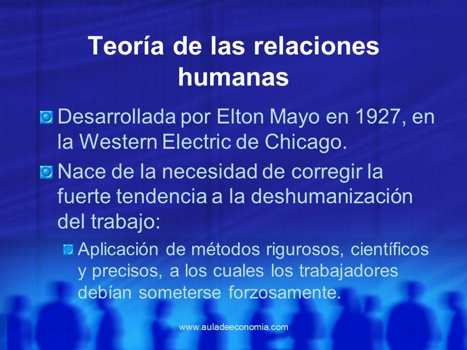 www.auladeeconomia.com Teoría de las relaciones humanas Desarrollada por Elton Mayo en 1927, en la Western Electric de Chicago. Nace de la necesidad d