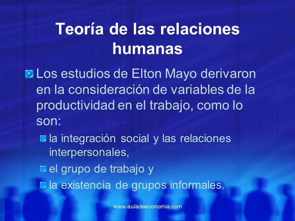 www.auladeeconomia.com Teoría de las relaciones humanas Los estudios de Elton Mayo derivaron en la consideración de variables de la productividad en e
