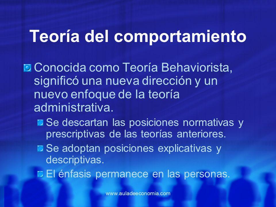 www.auladeeconomia.com Teoría del comportamiento Conocida como Teoría Behaviorista, significó una nueva dirección y un nuevo enfoque de la teoría admi