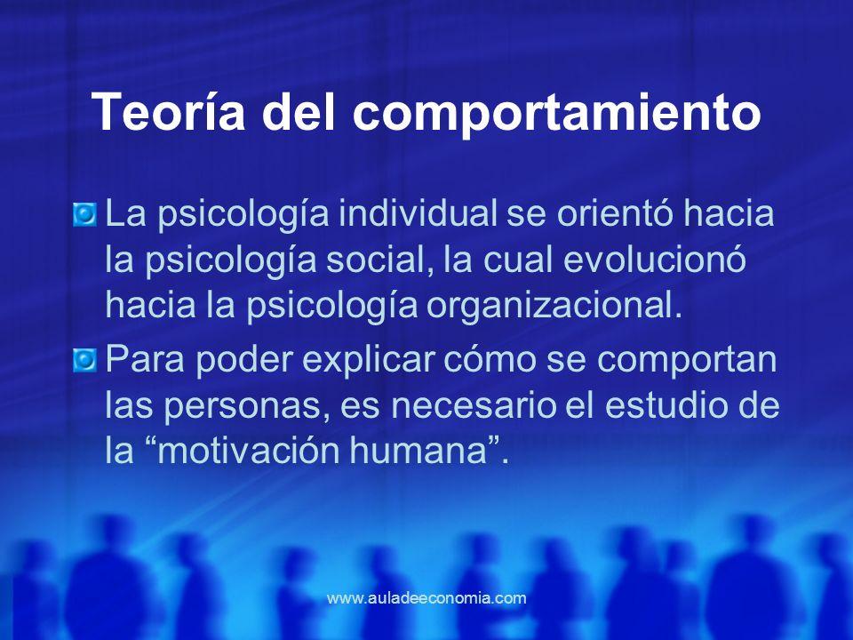 www.auladeeconomia.com Teoría del comportamiento La psicología individual se orientó hacia la psicología social, la cual evolucionó hacia la psicologí