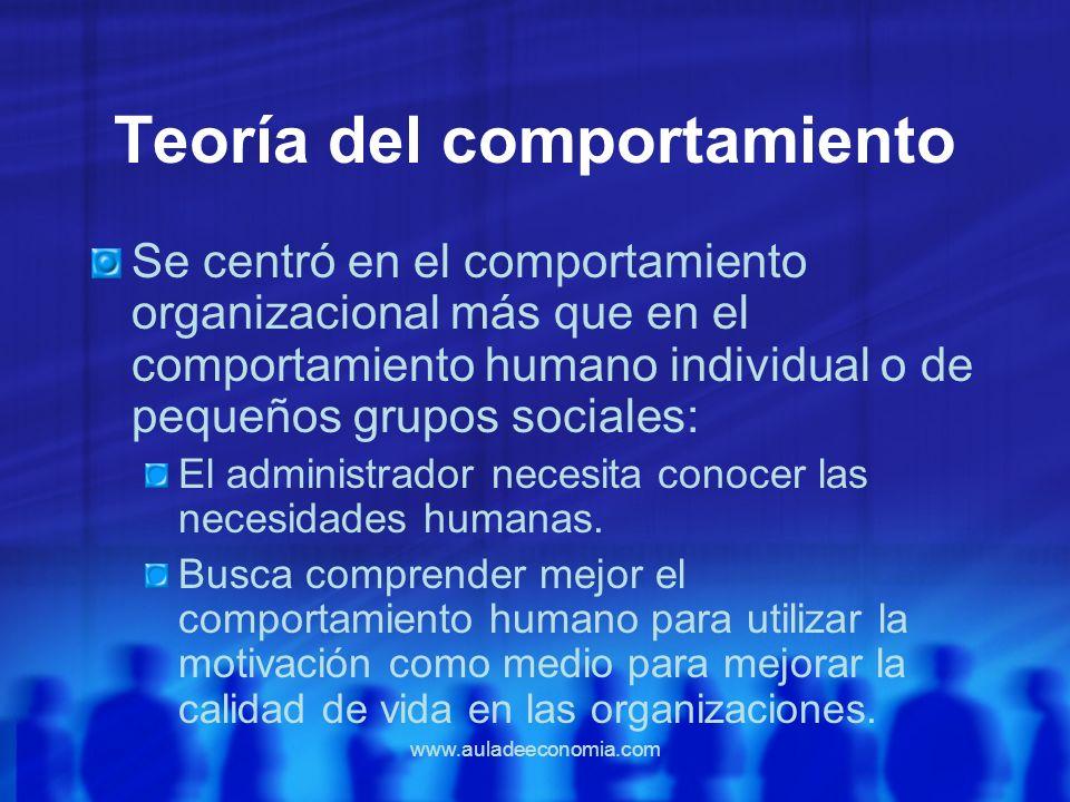 www.auladeeconomia.com Teoría del comportamiento Se centró en el comportamiento organizacional más que en el comportamiento humano individual o de peq
