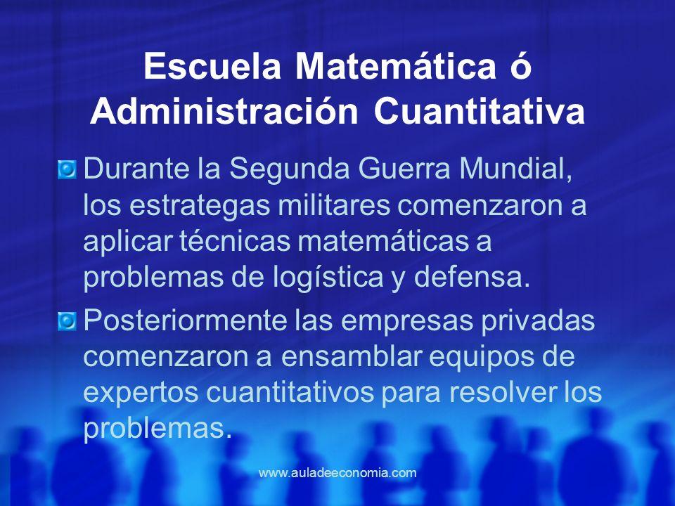 www.auladeeconomia.com Escuela Matemática ó Administración Cuantitativa Durante la Segunda Guerra Mundial, los estrategas militares comenzaron a aplic