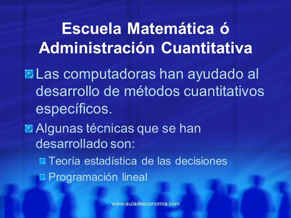 www.auladeeconomia.com Escuela Matemática ó Administración Cuantitativa Las computadoras han ayudado al desarrollo de métodos cuantitativos específico