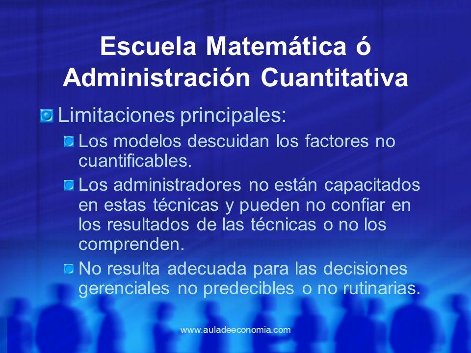 www.auladeeconomia.com Escuela Matemática ó Administración Cuantitativa Limitaciones principales: Los modelos descuidan los factores no cuantificables