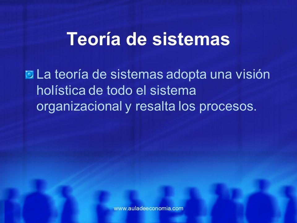 www.auladeeconomia.com Teoría de sistemas La teoría de sistemas adopta una visión holística de todo el sistema organizacional y resalta los procesos.