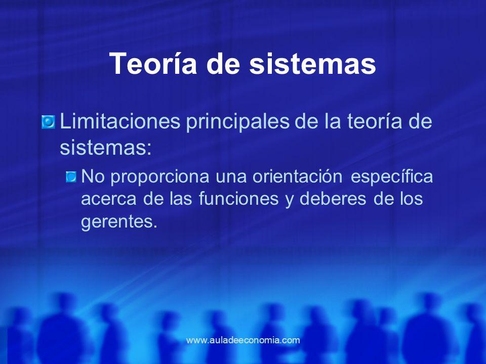 www.auladeeconomia.com Teoría de sistemas Limitaciones principales de la teoría de sistemas: No proporciona una orientación específica acerca de las f