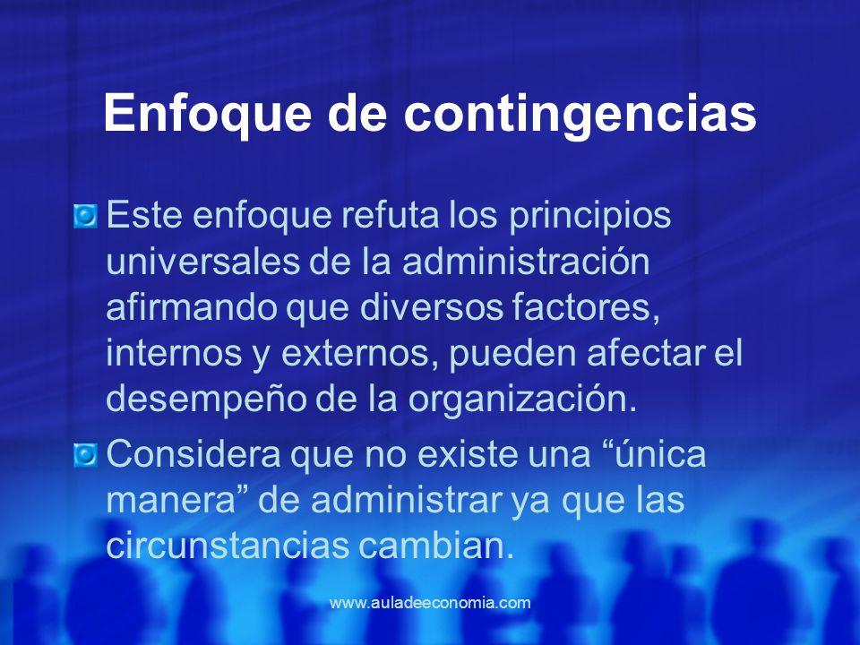 www.auladeeconomia.com Enfoque de contingencias Este enfoque refuta los principios universales de la administración afirmando que diversos factores, i