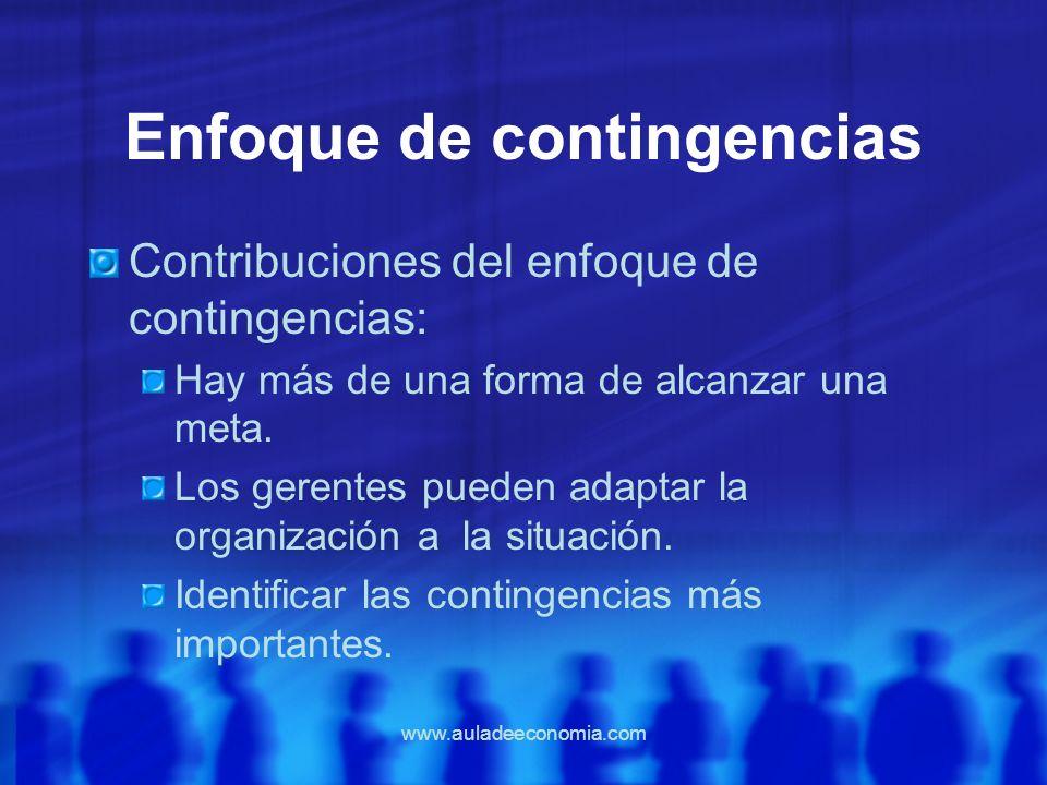 www.auladeeconomia.com Enfoque de contingencias Contribuciones del enfoque de contingencias: Hay más de una forma de alcanzar una meta. Los gerentes p