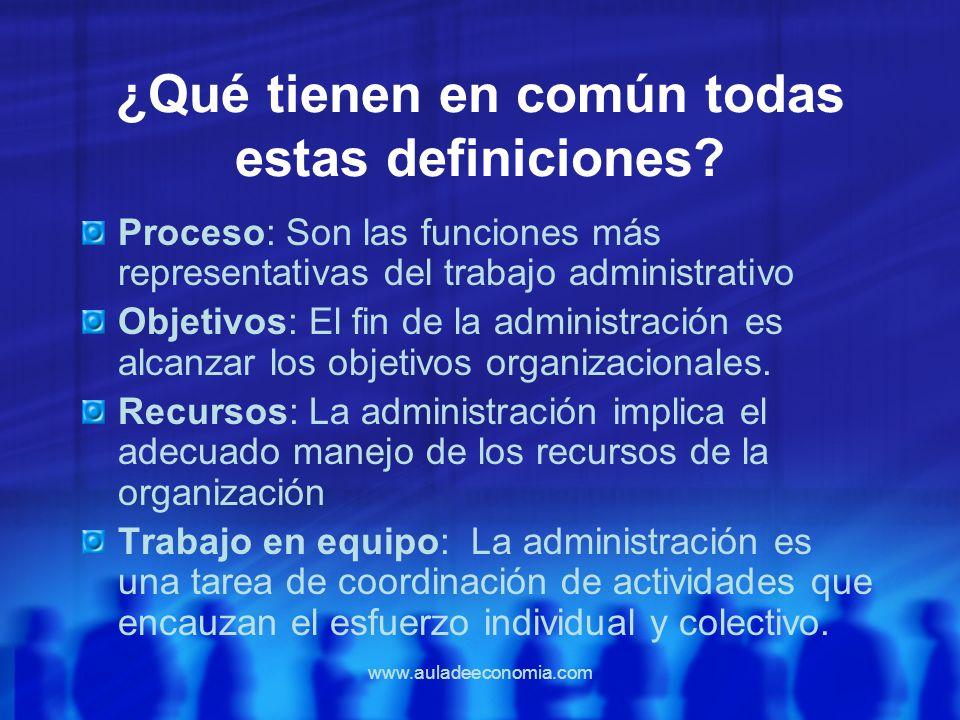 www.auladeeconomia.com ¿Qué tienen en común todas estas definiciones? Proceso: Son las funciones más representativas del trabajo administrativo Objeti