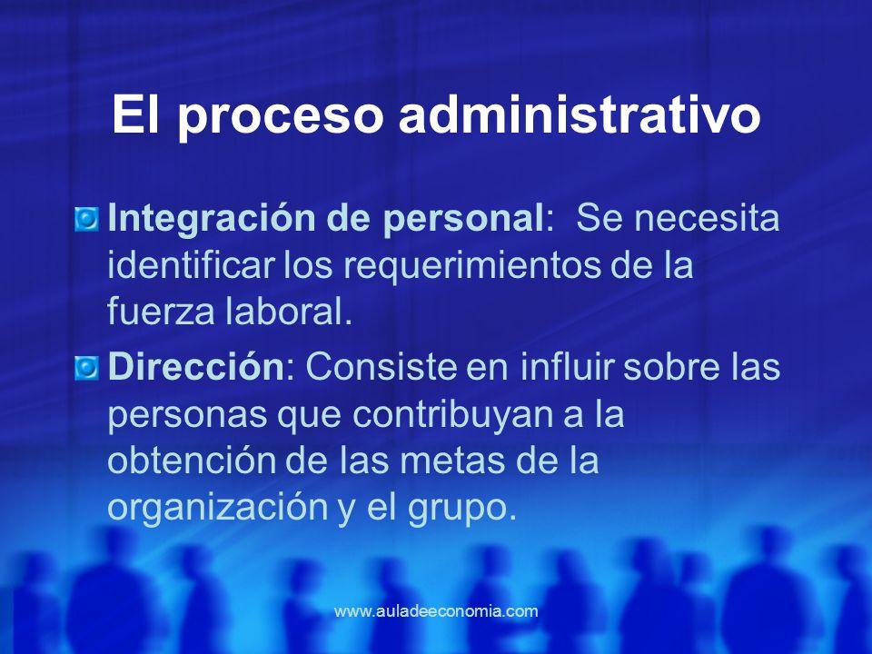 www.auladeeconomia.com El proceso administrativo Integración de personal: Se necesita identificar los requerimientos de la fuerza laboral. Dirección: