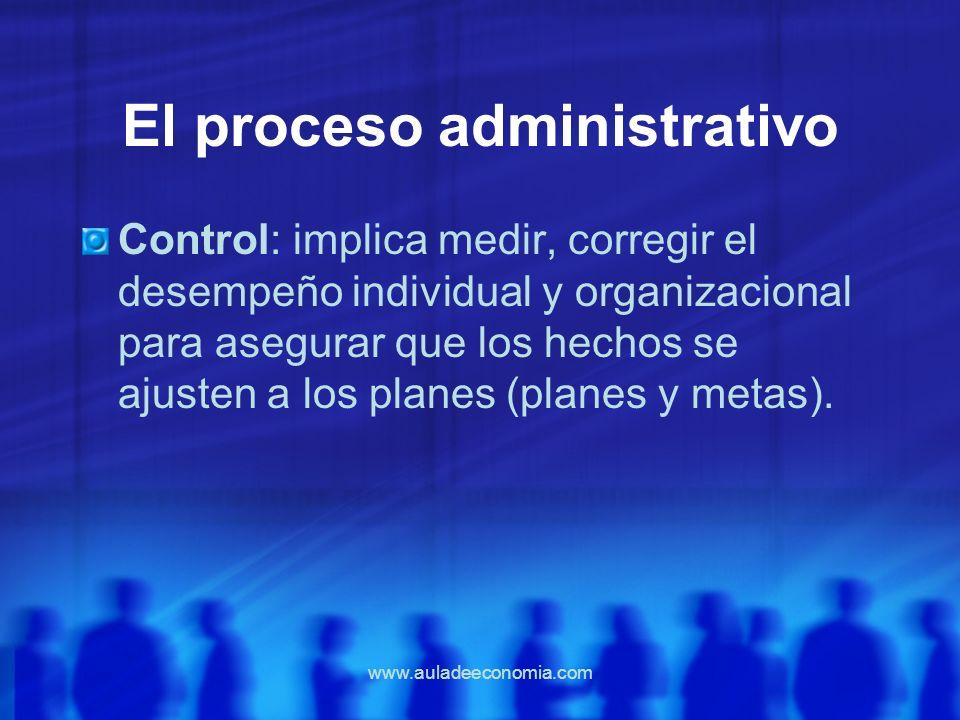 www.auladeeconomia.com El proceso administrativo Control: implica medir, corregir el desempeño individual y organizacional para asegurar que los hecho