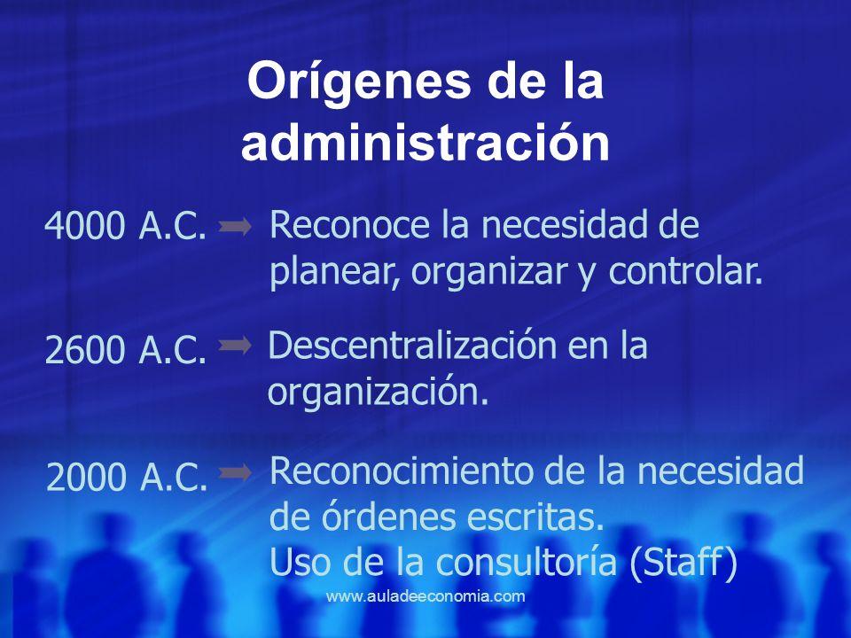 www.auladeeconomia.com Orígenes de la administración 4000 A.C. 2600 A.C. 2000 A.C. Reconoce la necesidad de planear, organizar y controlar. Descentral