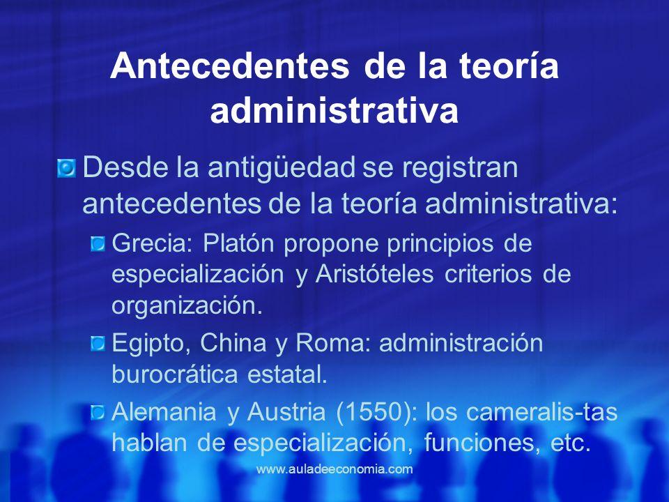 www.auladeeconomia.com Antecedentes de la teoría administrativa Desde la antigüedad se registran antecedentes de la teoría administrativa: Grecia: Pla
