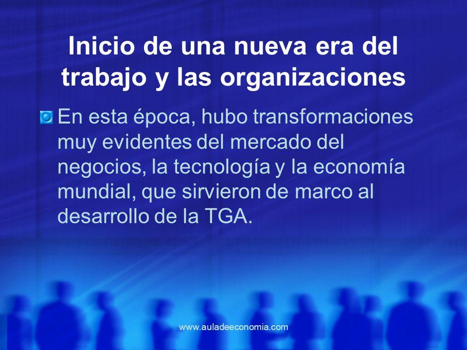 www.auladeeconomia.com Inicio de una nueva era del trabajo y las organizaciones En esta época, hubo transformaciones muy evidentes del mercado del neg