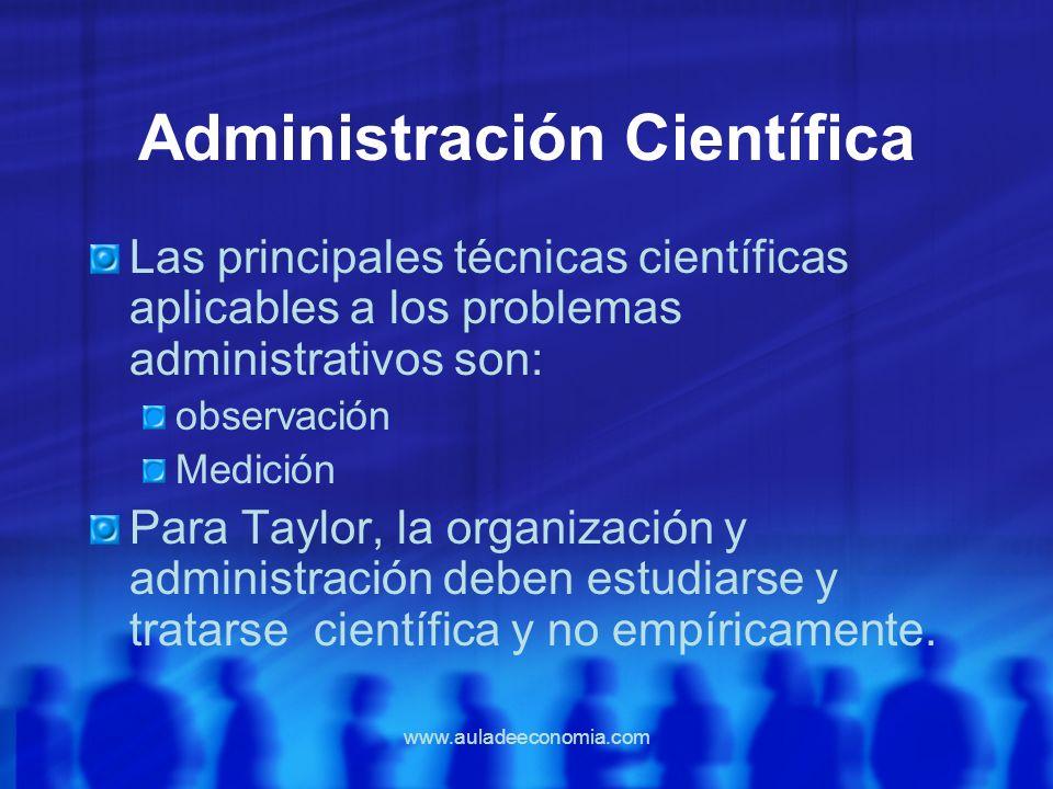 www.auladeeconomia.com Administración Científica Las principales técnicas científicas aplicables a los problemas administrativos son: observación Medi