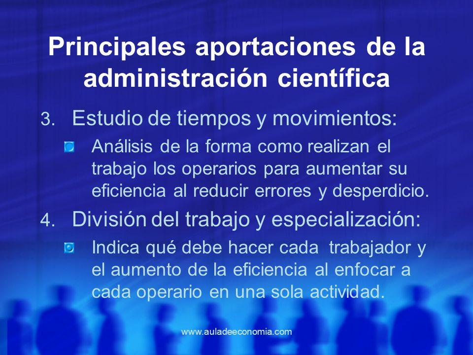 www.auladeeconomia.com Principales aportaciones de la administración científica 3. Estudio de tiempos y movimientos: Análisis de la forma como realiza