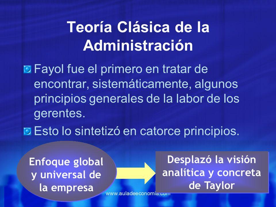 www.auladeeconomia.com Teoría Clásica de la Administración Fayol fue el primero en tratar de encontrar, sistemáticamente, algunos principios generales