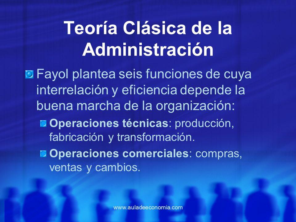 www.auladeeconomia.com Teoría Clásica de la Administración Fayol plantea seis funciones de cuya interrelación y eficiencia depende la buena marcha de