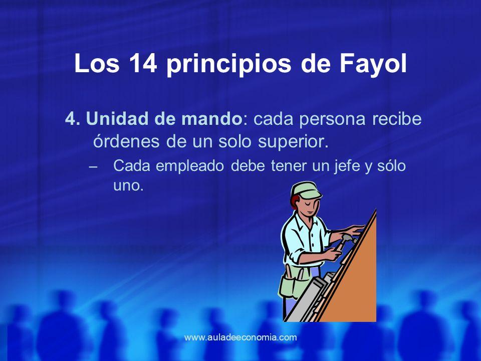 www.auladeeconomia.com Los 14 principios de Fayol 4. Unidad de mando: cada persona recibe órdenes de un solo superior. – Cada empleado debe tener un j