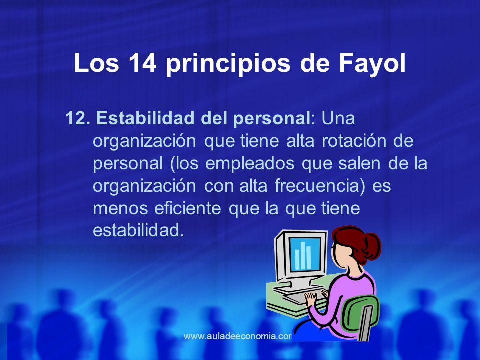 www.auladeeconomia.com Los 14 principios de Fayol 12. Estabilidad del personal: Una organización que tiene alta rotación de personal (los empleados qu