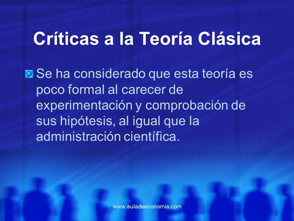 www.auladeeconomia.com Críticas a la Teoría Clásica Se ha considerado que esta teoría es poco formal al carecer de experimentación y comprobación de s