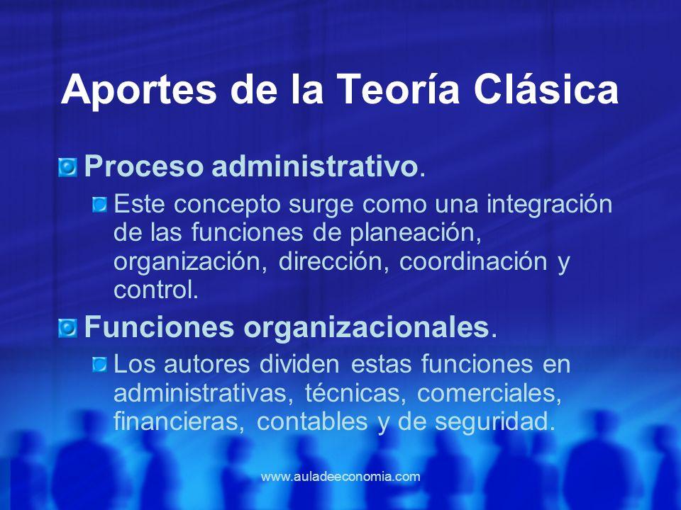 www.auladeeconomia.com Aportes de la Teoría Clásica Proceso administrativo. Este concepto surge como una integración de las funciones de planeación, o