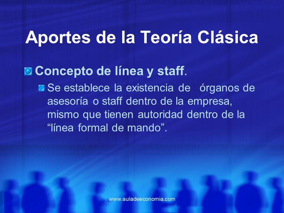 www.auladeeconomia.com Aportes de la Teoría Clásica Concepto de línea y staff. Se establece la existencia de órganos de asesoría o staff dentro de la