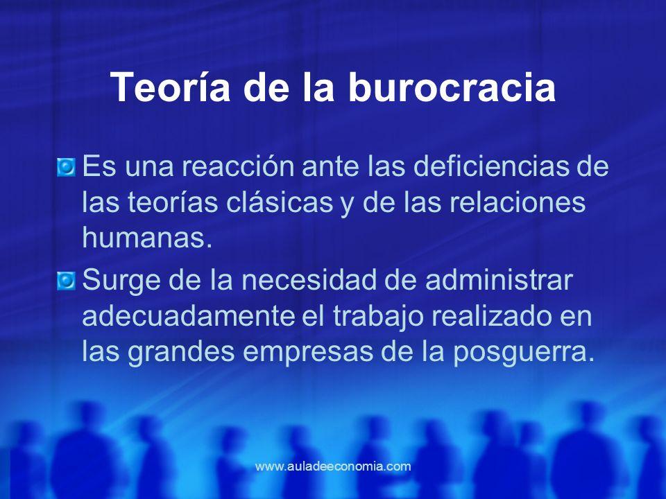 www.auladeeconomia.com Teoría de la burocracia Es una reacción ante las deficiencias de las teorías clásicas y de las relaciones humanas. Surge de la