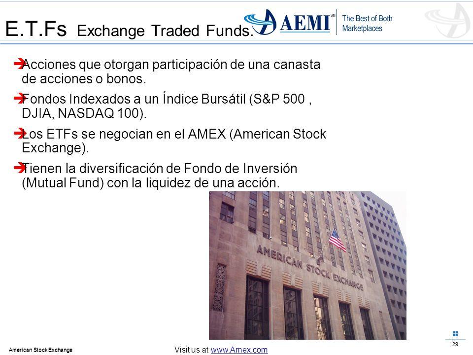 29 American Stock Exchange 29 American Stock Exchange Visit us at www.Amex.com E.T.Fs Exchange Traded Funds. Acciones que otorgan participación de una