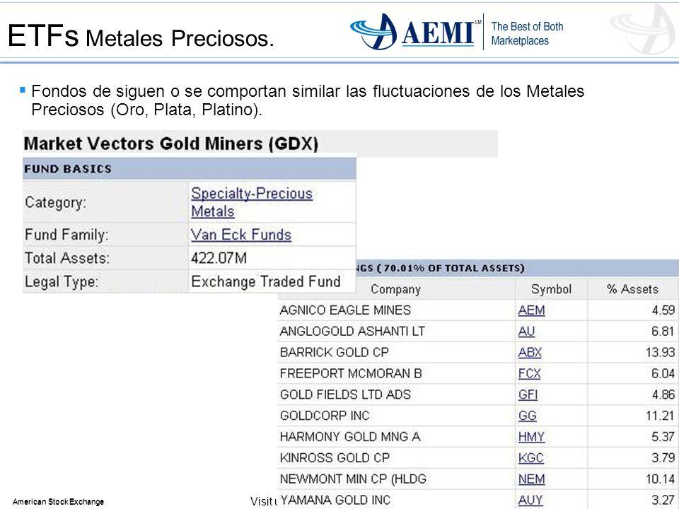 44 American Stock Exchange 44 American Stock Exchange Visit us at www.Amex.com ETFs Metales Preciosos. Fondos de siguen o se comportan similar las flu
