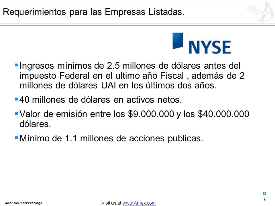 5 American Stock Exchange 5 Visit us at www.Amex.com Requerimientos para las Empresas Listadas. Ingresos mínimos de 2.5 millones de dólares antes del