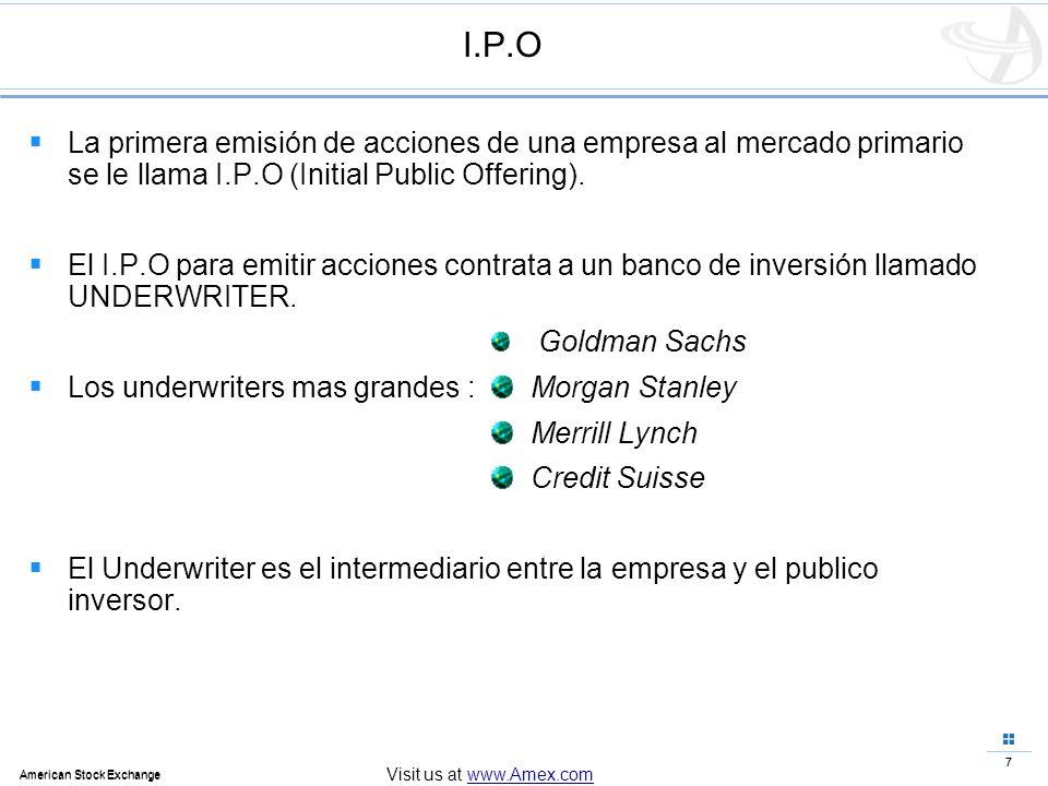 7 American Stock Exchange 7 Visit us at www.Amex.com I.P.O La primera emisión de acciones de una empresa al mercado primario se le llama I.P.O (Initia