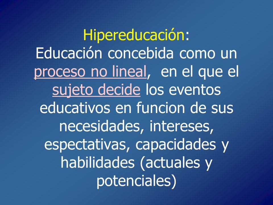 Hipereducación: Educación concebida como un proceso no lineal, en el que el sujeto decide los eventos educativos en funcion de sus necesidades, intere