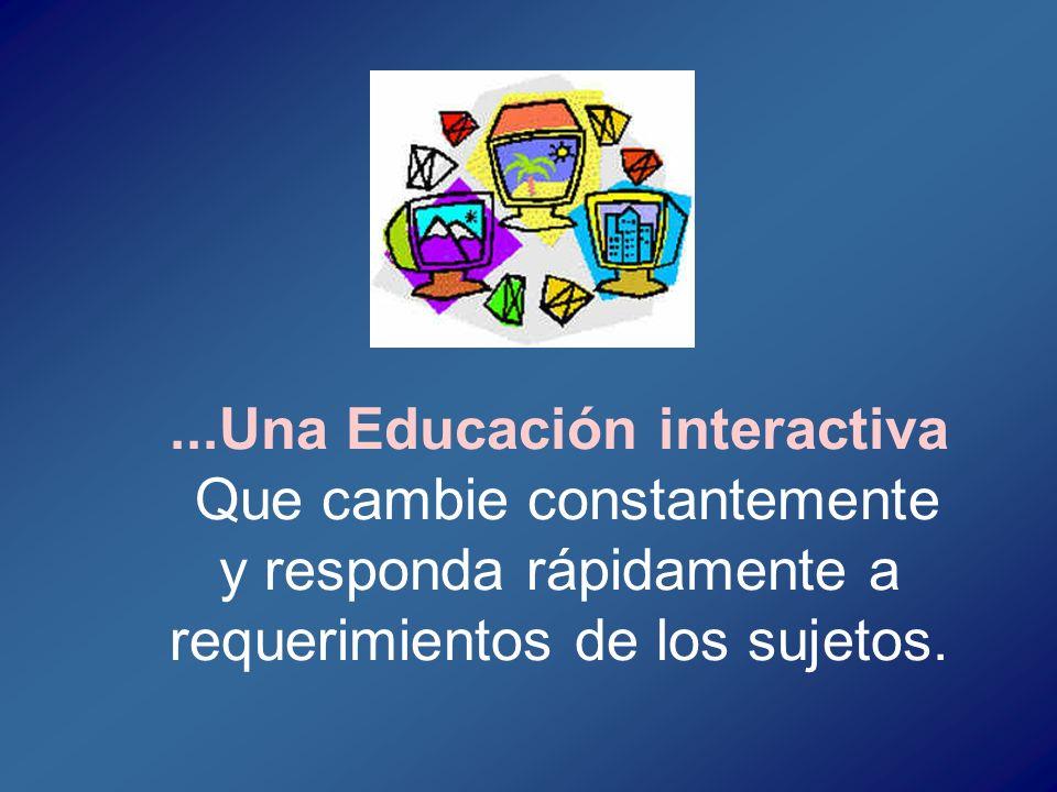 ...Una Educación interactiva Que cambie constantemente y responda rápidamente a requerimientos de los sujetos.