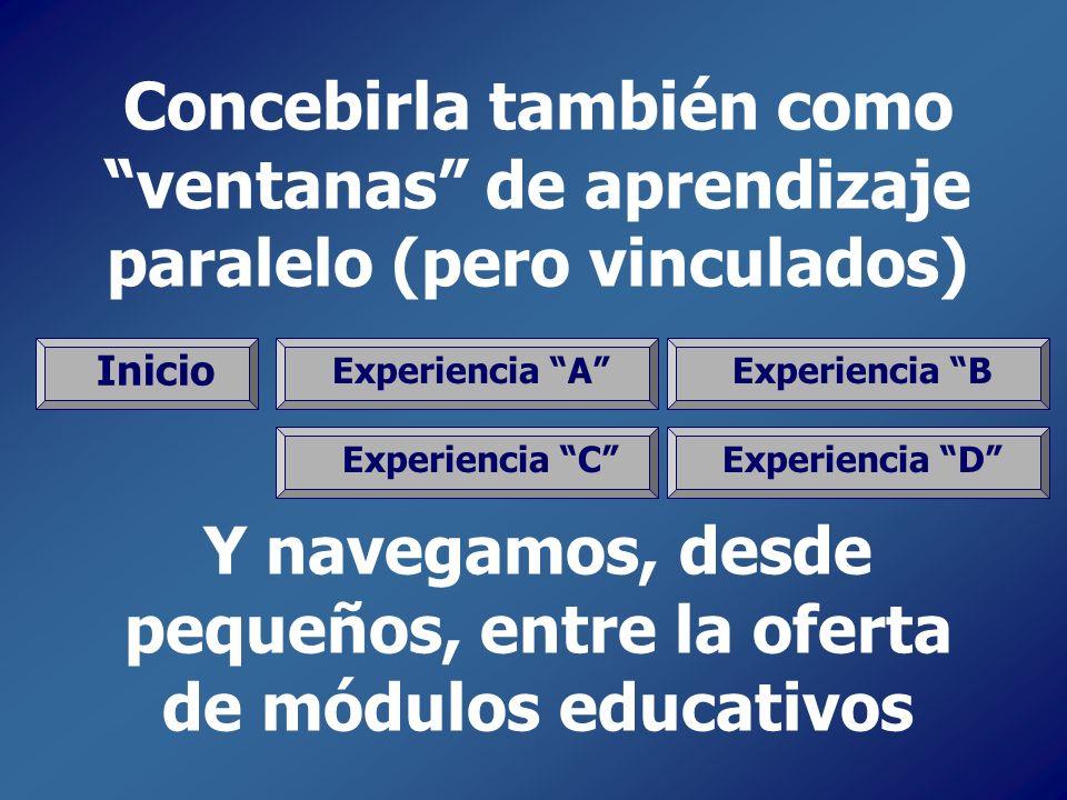 Concebirla también como ventanas de aprendizaje paralelo (pero vinculados) Y navegamos, desde pequeños, entre la oferta de módulos educativos Inicio E