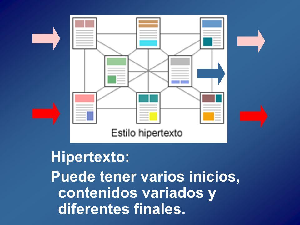 Hipertexto: Puede tener varios inicios, contenidos variados y diferentes finales.
