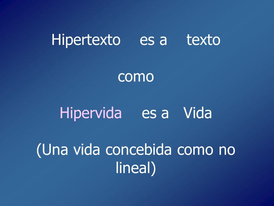 Hipertexto es a texto como Hipervida es a Vida (Una vida concebida como no lineal)