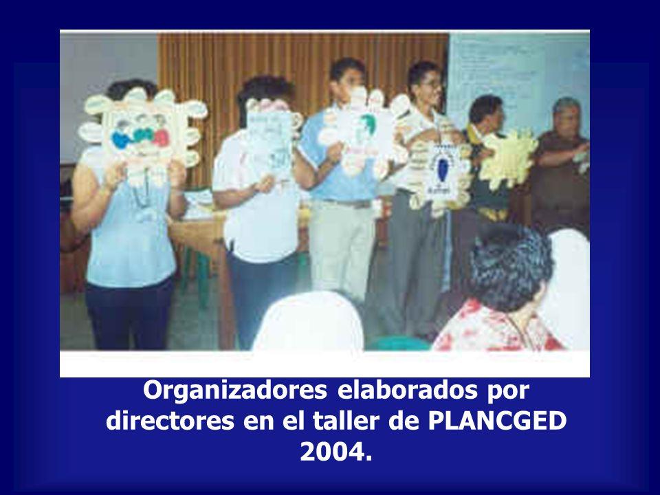 Organizadores elaborados por directores en el taller de PLANCGED 2004.