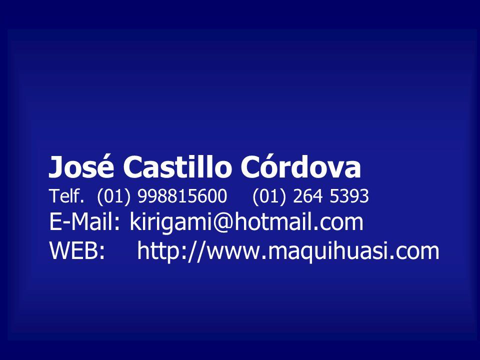 José Castillo Córdova Telf. (01) 998815600 (01) 264 5393 E-Mail: kirigami@hotmail.com WEB: http://www.maquihuasi.com