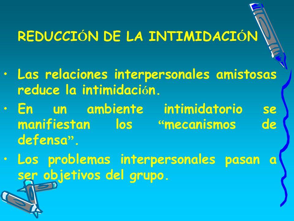 REDUCCI Ó N DE LA INTIMIDACI Ó N Las relaciones interpersonales amistosas reduce la intimidaci ó n.