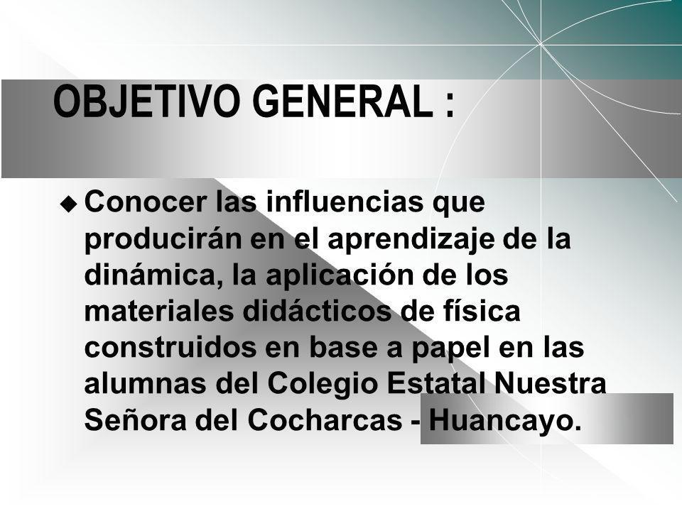 OBJETIVO GENERAL : Conocer las influencias que producirán en el aprendizaje de la dinámica, la aplicación de los materiales didácticos de física construidos en base a papel en las alumnas del Colegio Estatal Nuestra Señora del Cocharcas - Huancayo.